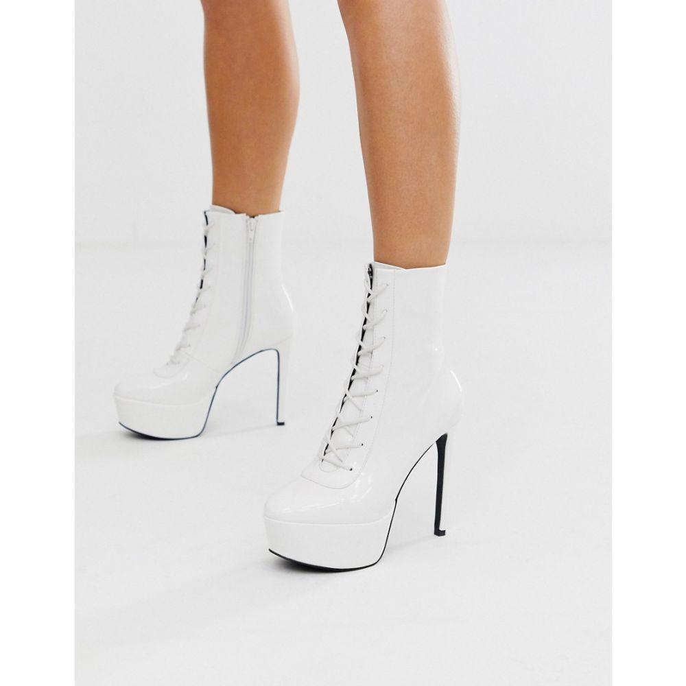 エイソス ASOS DESIGN レディース ブーツ ピンヒール レースアップブーツ シューズ・靴【edit lace up platform stiletto boots in white】White patent