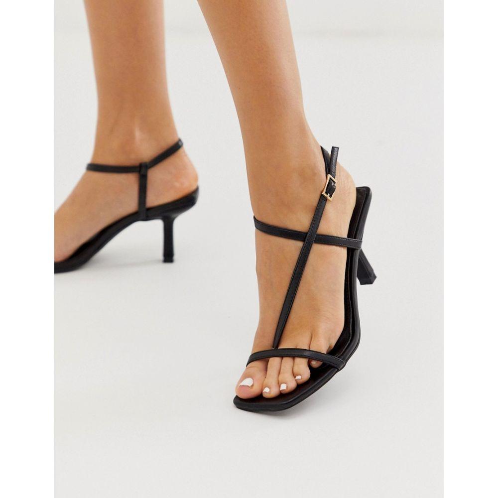レイド Raid レディース サンダル・ミュール スクエアトゥ シューズ・靴【aadhya black square toe sandals】Black pu