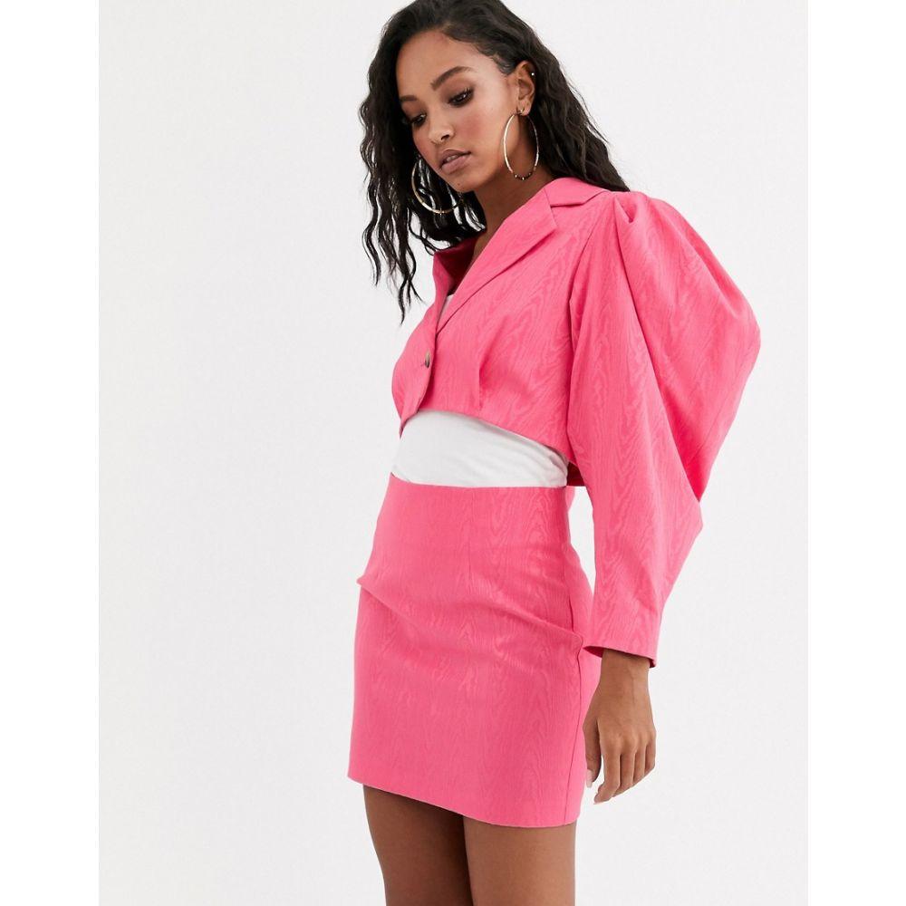 エイソス ASOS DESIGN レディース スーツ・ジャケット アウター【premium sleeve drama cropped jacquard suit blazer】Pink