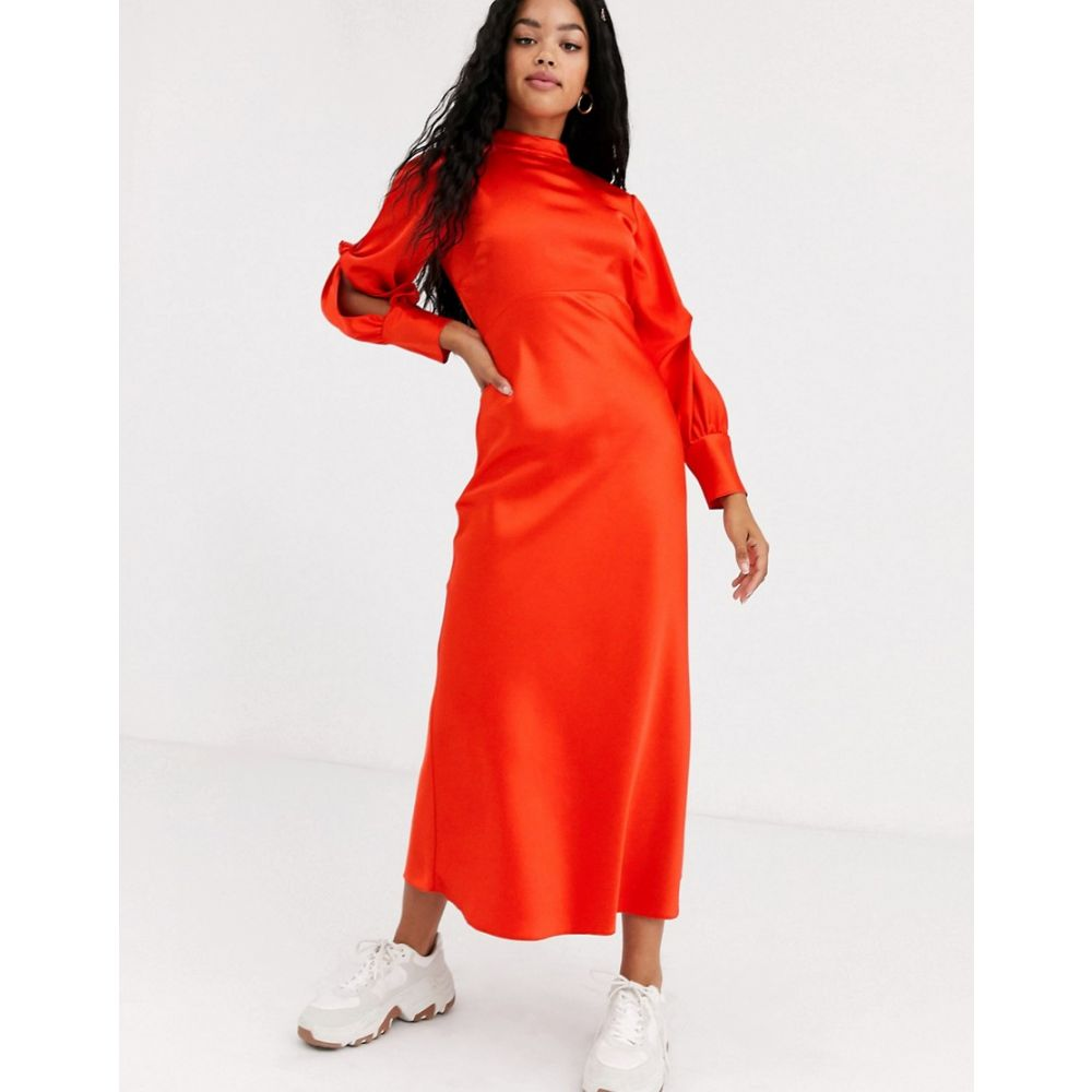 エイソス ASOS DESIGN レディース ワンピース マキシ丈 ワンピース・ドレス【high neck satin bias maxi dress with knot sleeve detail】Bright red