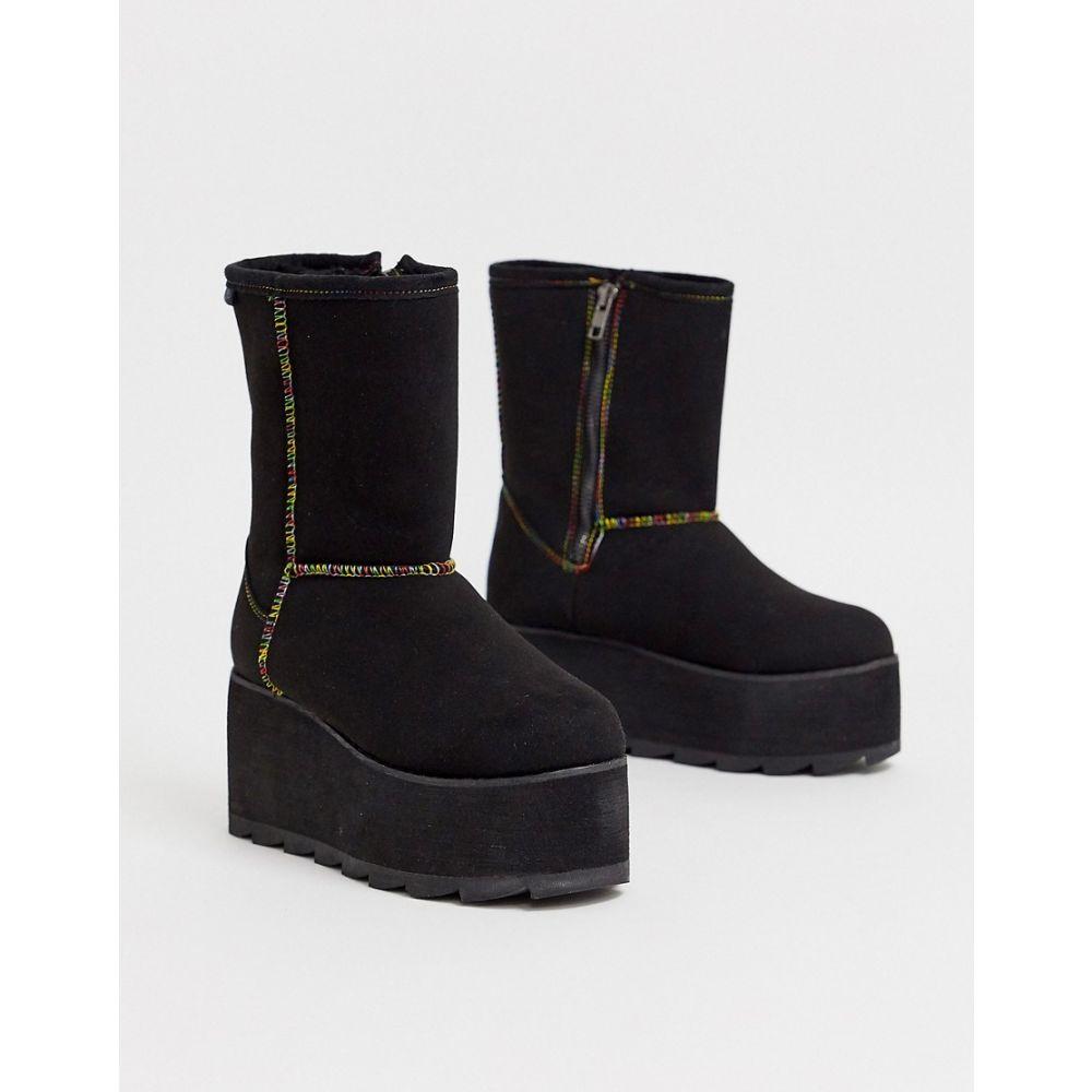 ワイアールユー YRU レディース ブーツ シューズ・靴【y-r-u - flat plateau boot in black】Black