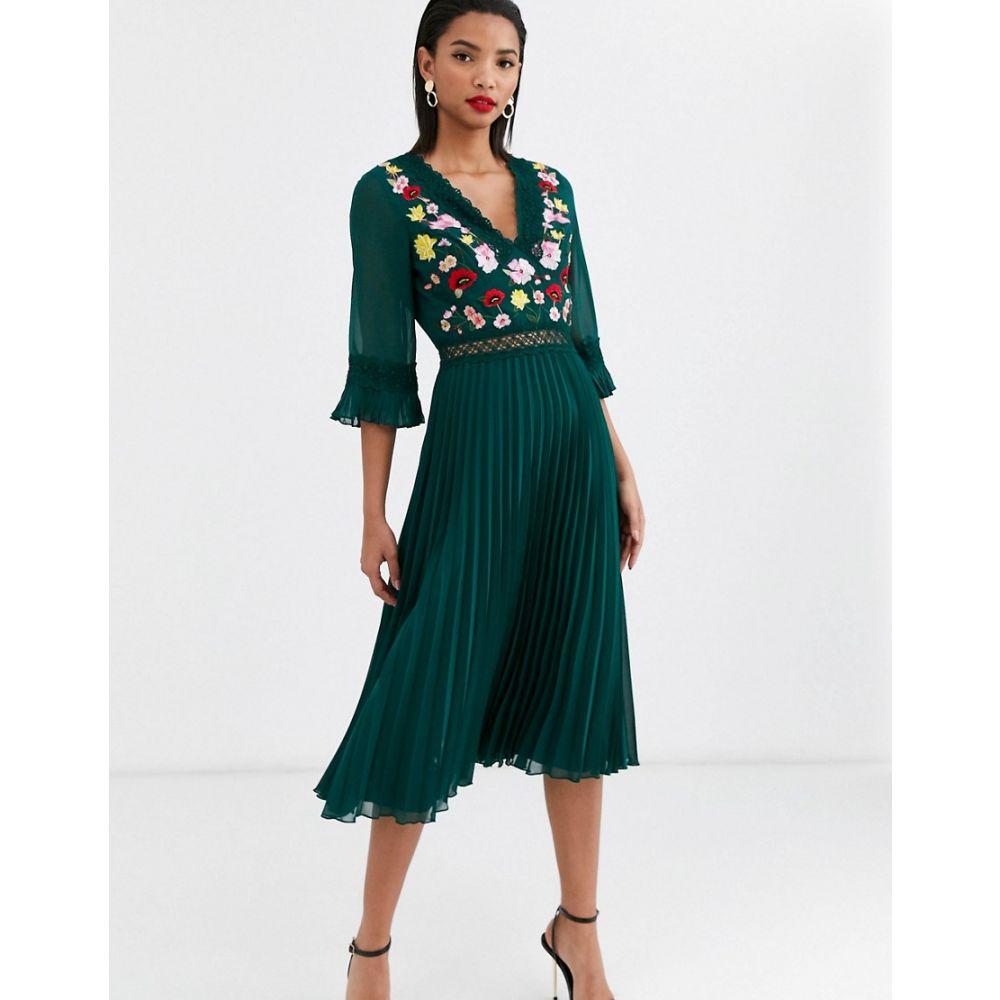 エイソス ASOS DESIGN レディース ワンピース ミドル丈 ワンピース・ドレス【lace insert pleated midi dress with embroidery】Forest green
