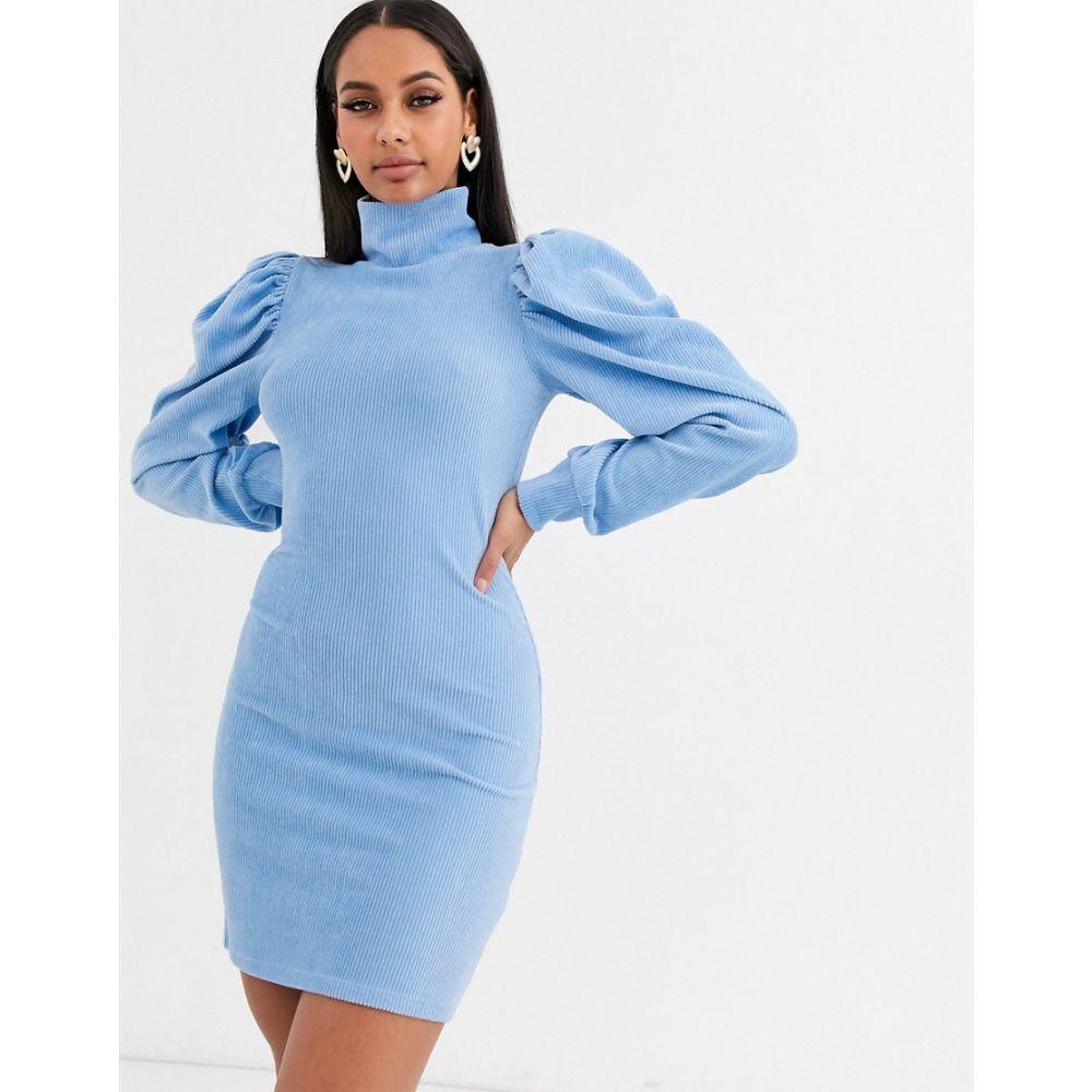 エイソス ASOS DESIGN レディース ワンピース ワンピース・ドレス【high neck puff sleeve dress in cord】Light blue