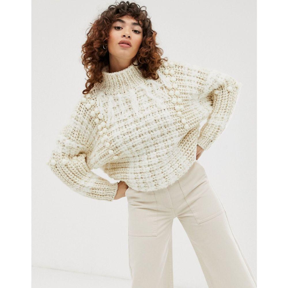 エイソス ASOS DESIGN レディース ニット・セーター トップス【premium hand knit jumper with tassel detail】Cream