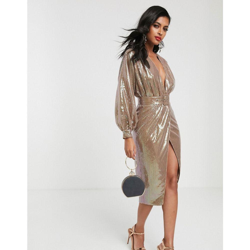 エイソス ASOS DESIGN レディース ワンピース ミドル丈 ワンピース・ドレス【midi dress with blouson sleeve and belt in irridescent sheet sequin】Irridecent bronze