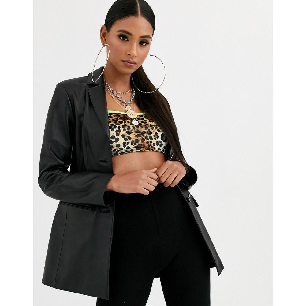 エイソス ASOS DESIGN レディース スーツ・ジャケット アウター【premium leather blazer】Black