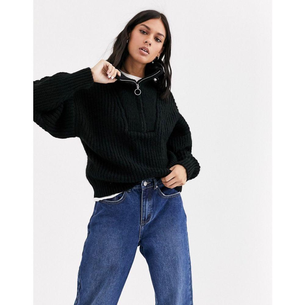 エイソス ASOS DESIGN レディース ニット・セーター トップス【chunky rib jumper with zip detail】Black