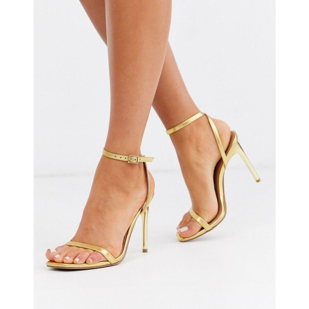エイソス ASOS DESIGN レディース サンダル・ミュール シューズ・靴【nova barely there heeled sandals in gold】Gold