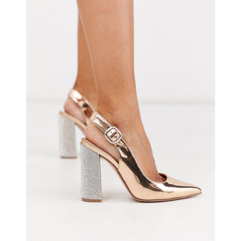エイソス ASOS DESIGN レディース ヒール シューズ・靴【penley embellished slingback high block heels in rose gold】Rose gold
