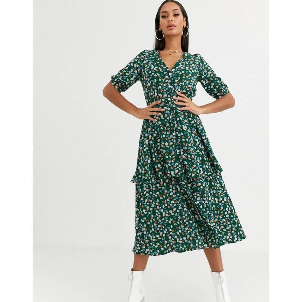 ミスガイデッド Missguided レディース ワンピース ティアードドレス ワンピース・ドレス【tiered midi dress in green floral】Green