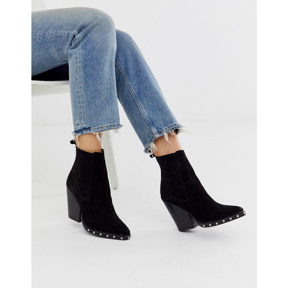 エイソス ASOS DESIGN レディース ブーツ ウェスタンブーツ シューズ・靴【relative suede studded heeled western boots in black】Black suede