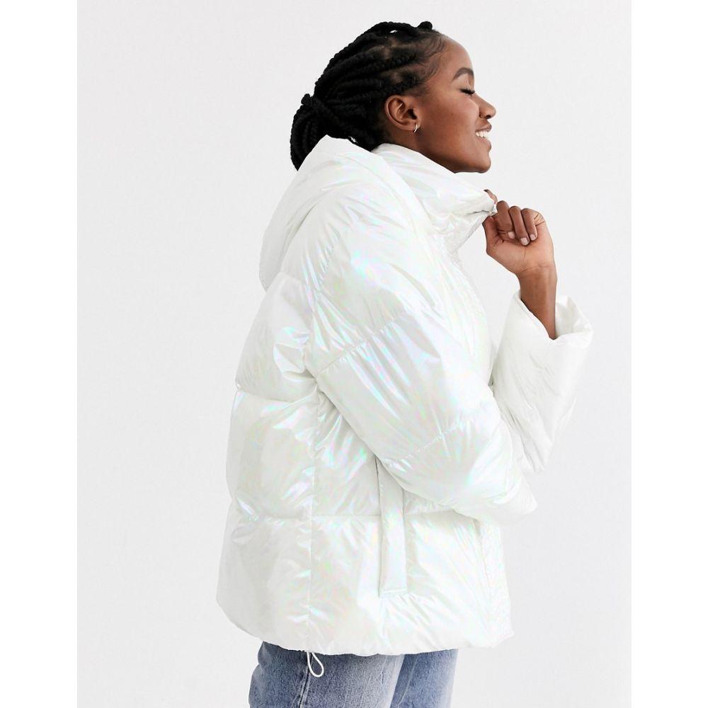 エイソス ASOS DESIGN レディース ダウン・中綿ジャケット アウター【marble effect puffer jacket in white】White