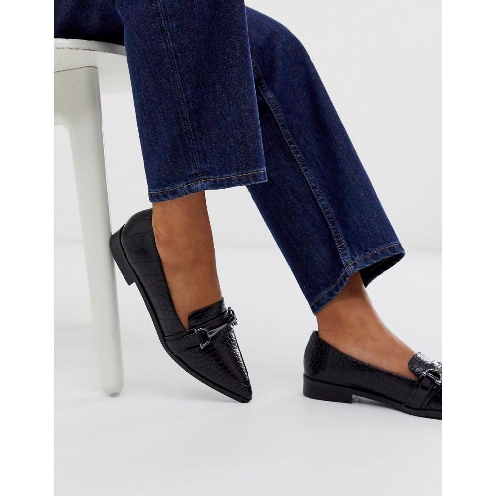 エイソス ASOS DESIGN レディース スリッポン・フラット シューズ・靴【master snaffle pointed flat shoes in black】Black croc