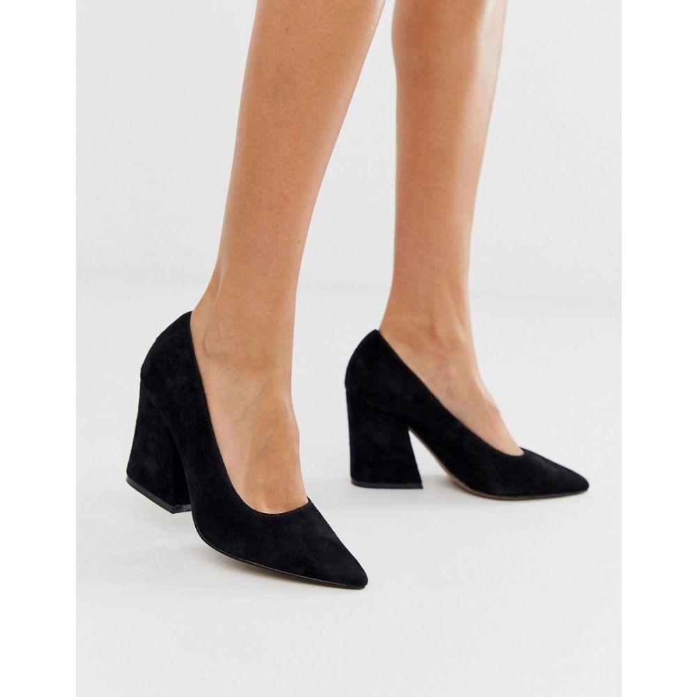 エイソス ASOS DESIGN レディース パンプス シューズ・靴【sorry not sorry block heeled court shoes in black suede】Black suede
