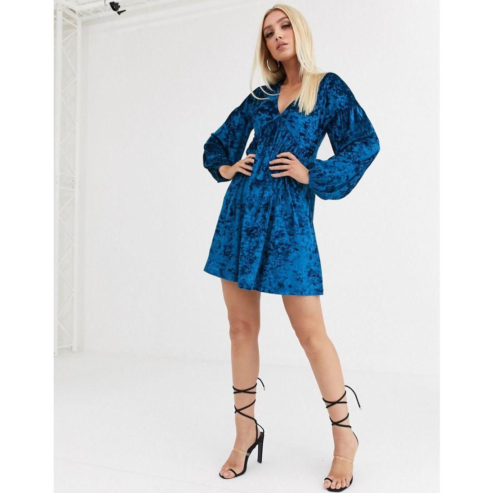 エイソス ASOS DESIGN レディース ワンピース ワンピース・ドレス【long sleeve velvet smock dress】Teal blue