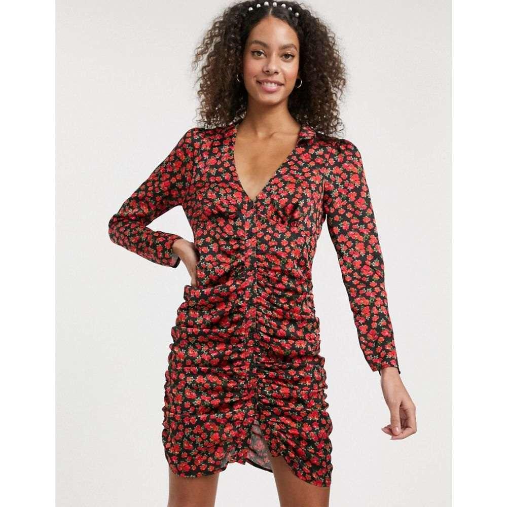 エイソス ASOS DESIGN レディース ワンピース ワンピース・ドレス【ruched button through mini dress in satin floral print】Black based floral