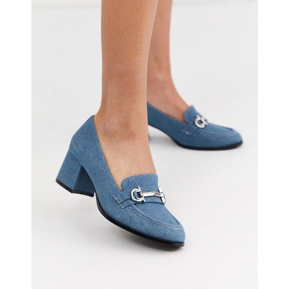 エイソス ASOS DESIGN レディース ローファー・オックスフォード シューズ・靴【stirrup mid-heeled loafers in denim】Denim