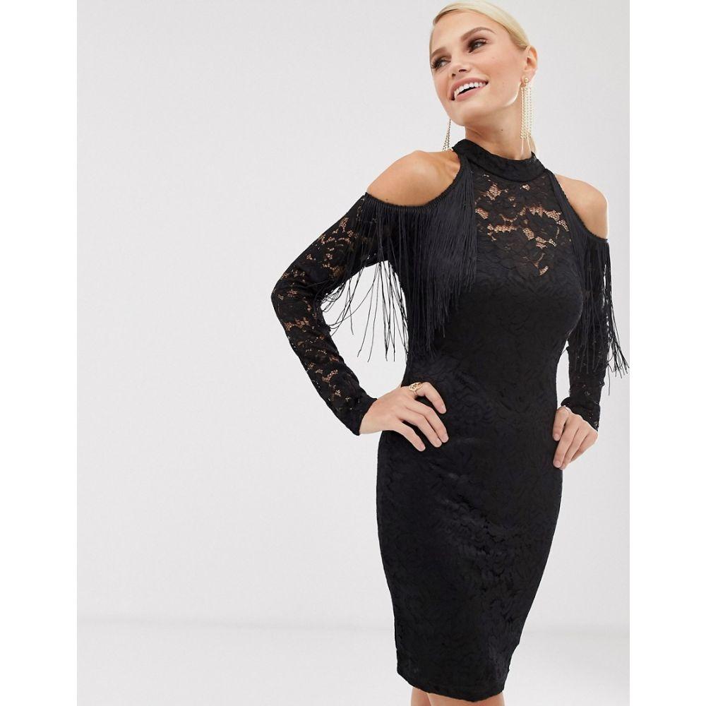 アックスパリス AX Paris レディース ボディコンドレス ワンピース・ドレス【tassel cold shoulder bodycon dress】Black