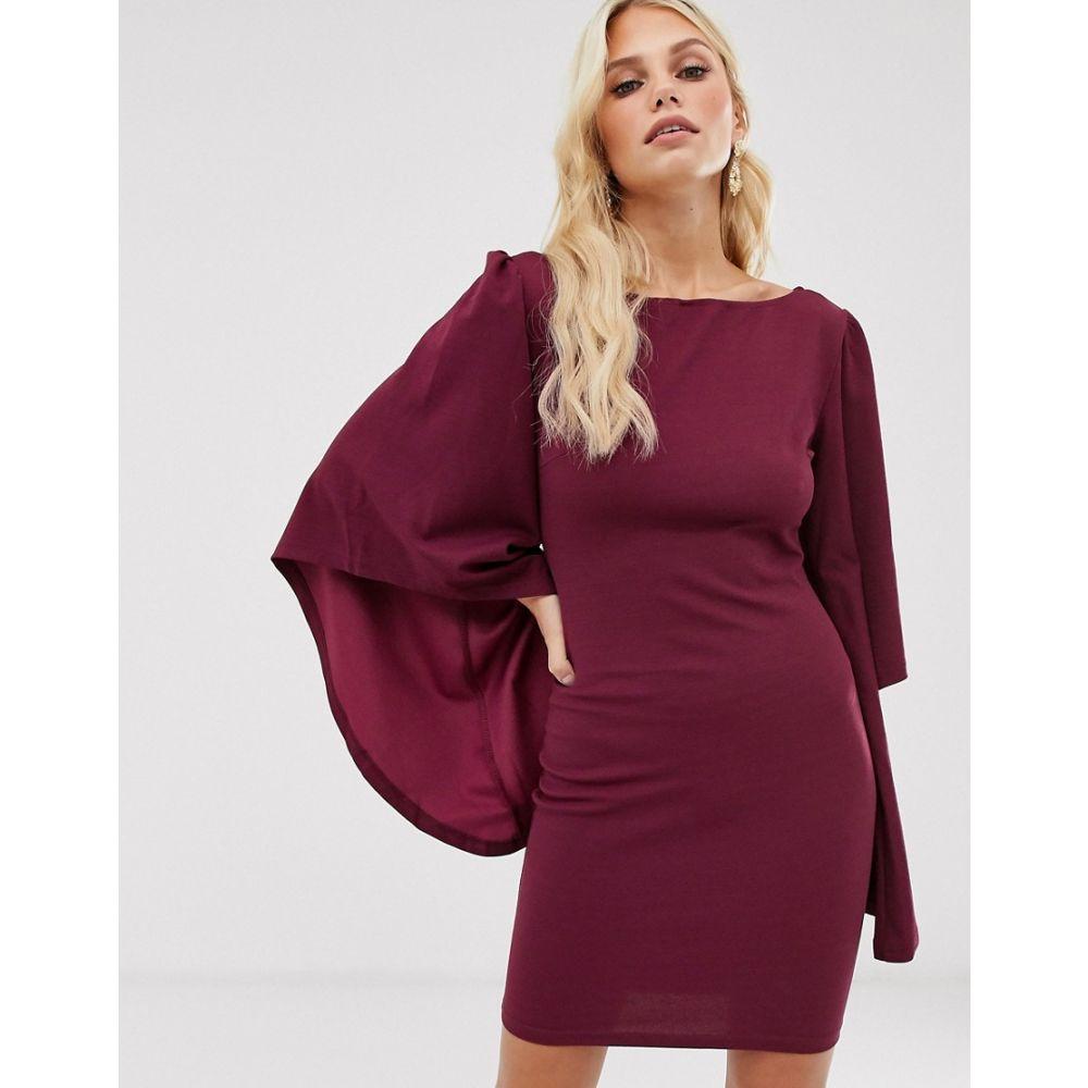 アックスパリス AX Paris レディース ワンピース ミニ丈 ワンピース・ドレス【flared sleeve mini dress】Plum