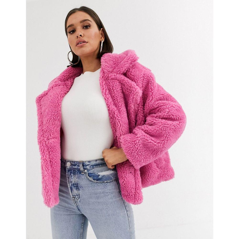 ブーフー Boohoo レディース コート アウター【teddy borg jacket in pink】Pink