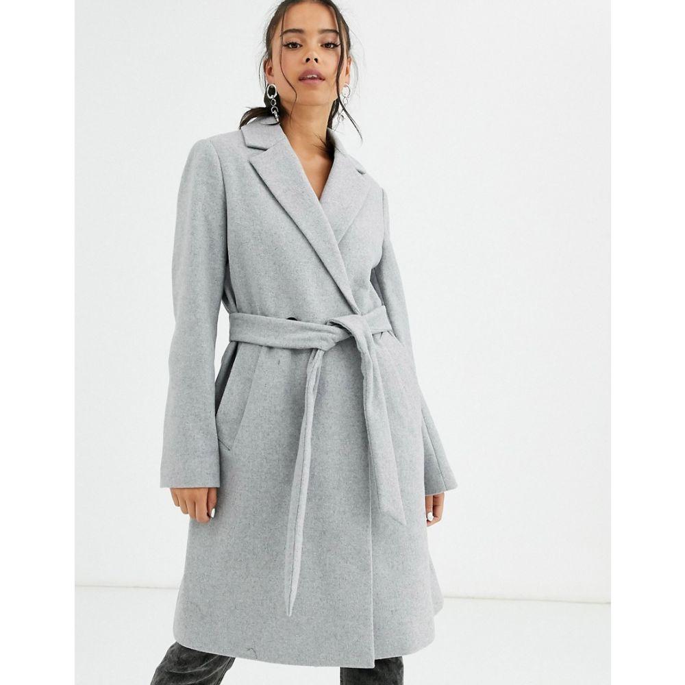 ベルシュカ Bershka レディース コート アウター【tie waist tailored coat in grey】Grey