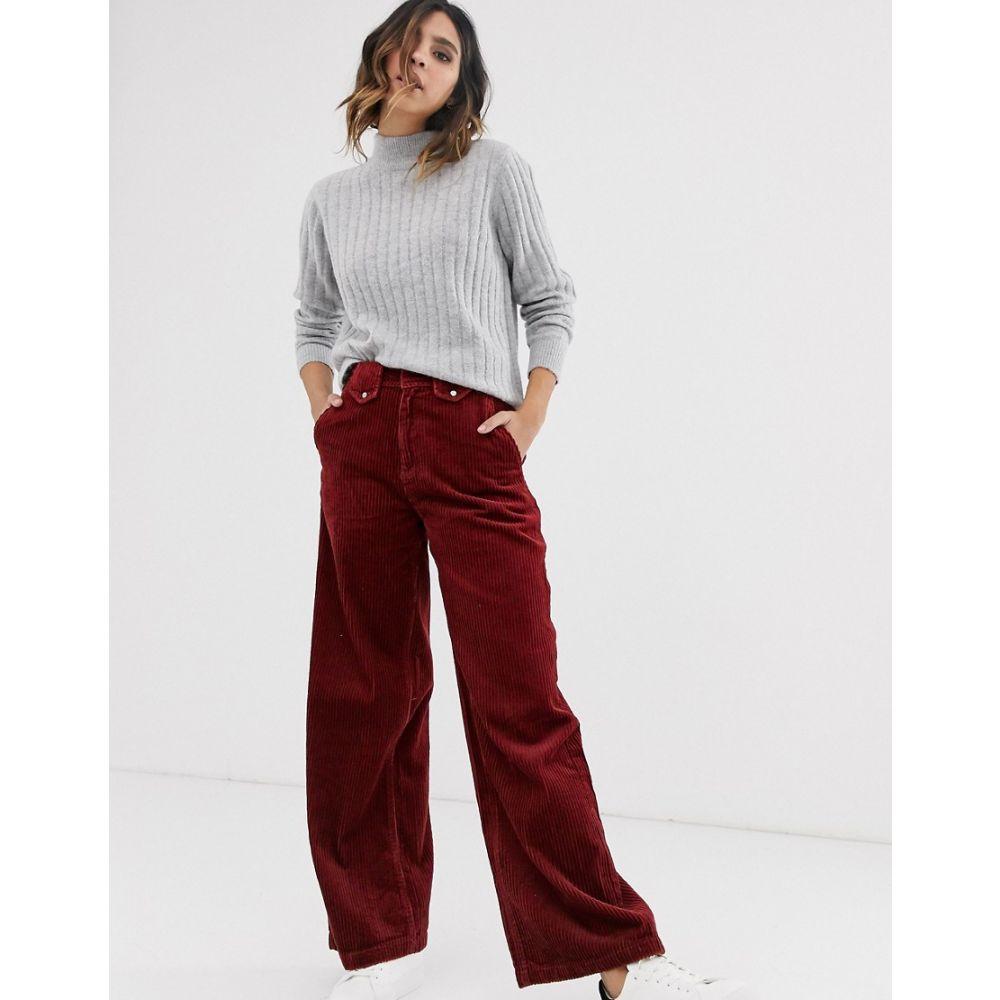 ヴェロモーダ Vero Moda レディース ボトムス・パンツ ワイドパンツ【wide leg cord trousers in brown】Madder brown