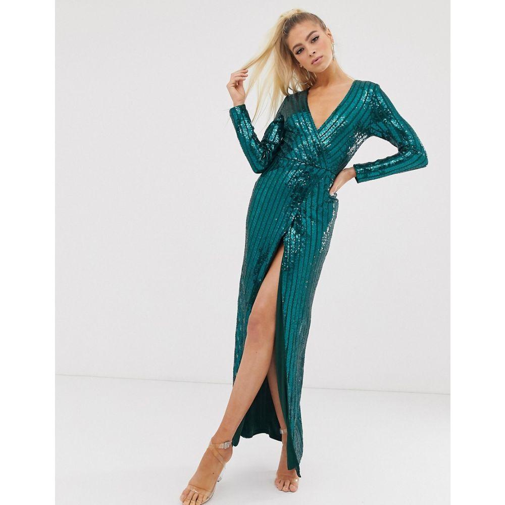 クラブエル ロンドン Club L London レディース ワンピース ラップドレス ワンピース・ドレス【wrap sequin embellished wrap dress】Emerald green