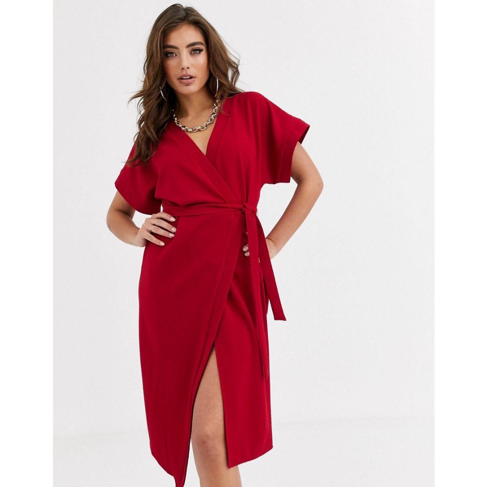 エイソス ASOS DESIGN レディース ワンピース ラップドレス ミドル丈 ワンピース・ドレス【wrap midi dress】Red