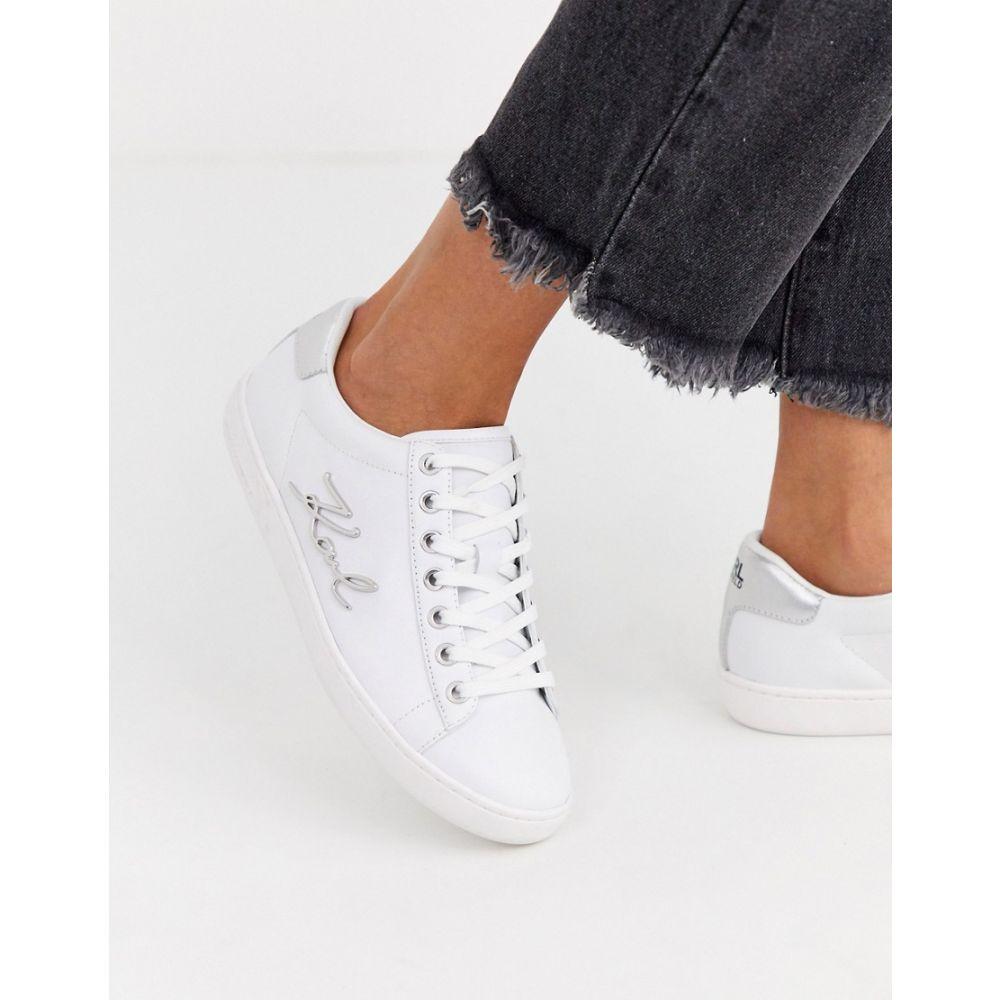 カール ラガーフェルド Karl Lagerfeld レディース スニーカー シューズ・靴【white leather single sole trainers with metal karl branding】White leather with s