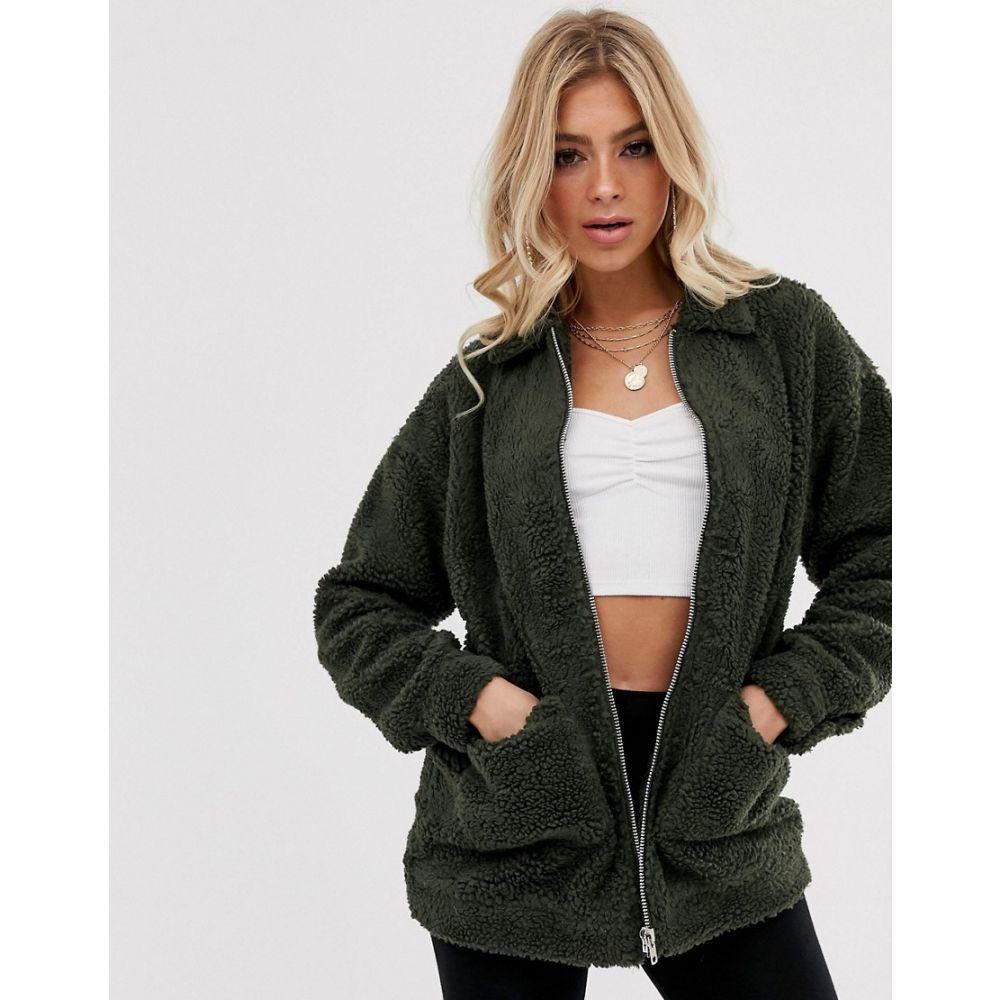 ミスガイデッド Missguided レディース ジャケット アウター【oversized borg zip through jacket】Khaki
