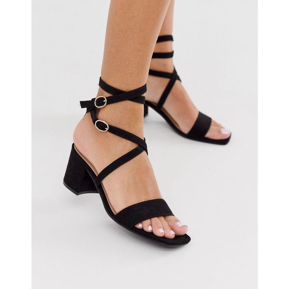 ロンドン レーベル London Rebel レディース サンダル・ミュール シューズ・靴【block heel strappy sandals in black】Black micro