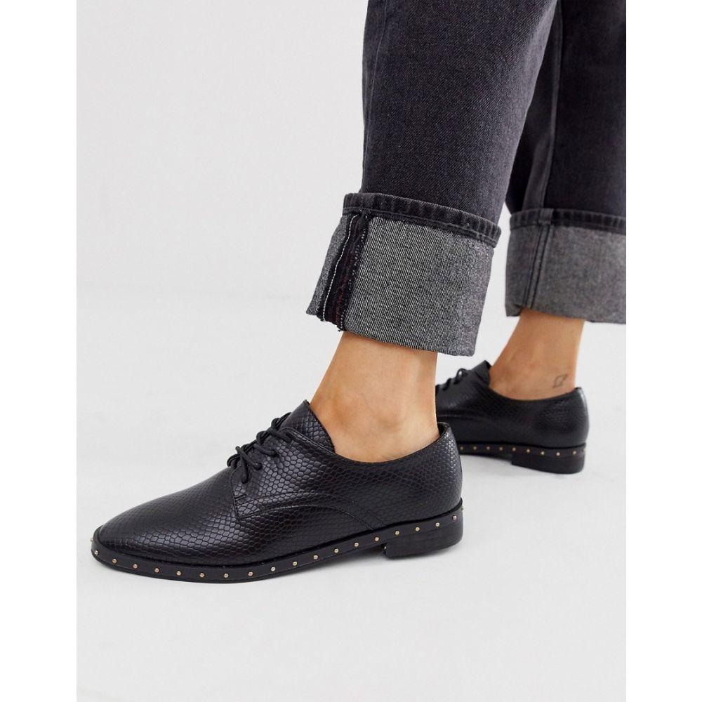 ロンドン レーベル London Rebel レディース スリッポン・フラット レースアップ シューズ・靴【lace up studded flat shoe】Black box pu