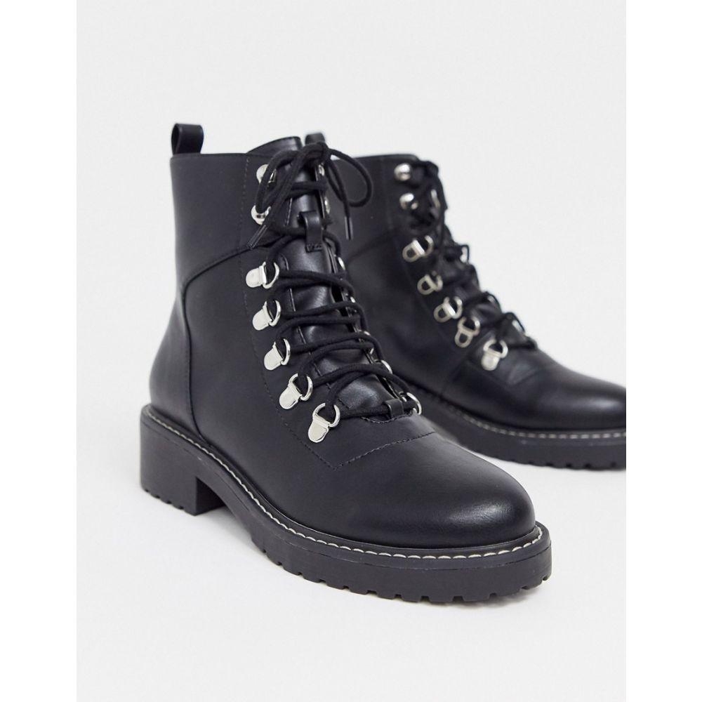 ロンドン レーベル London Rebel レディース ハイキング・登山 ブーツ シューズ・靴【chunky hiker boots in black】Black pu