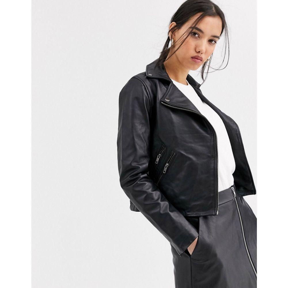 ムーバー Muubaa レディース レザージャケット ライダース アウター【classic leather biker jacket】Black