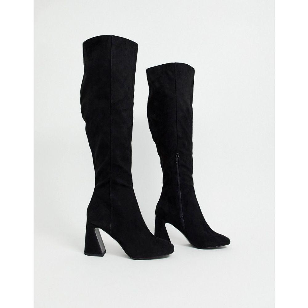 ミス セルフリッジ Miss Selfridge レディース ブーツ ニーハイブーツ シューズ・靴【over the knee boots with flared heels in black】Black