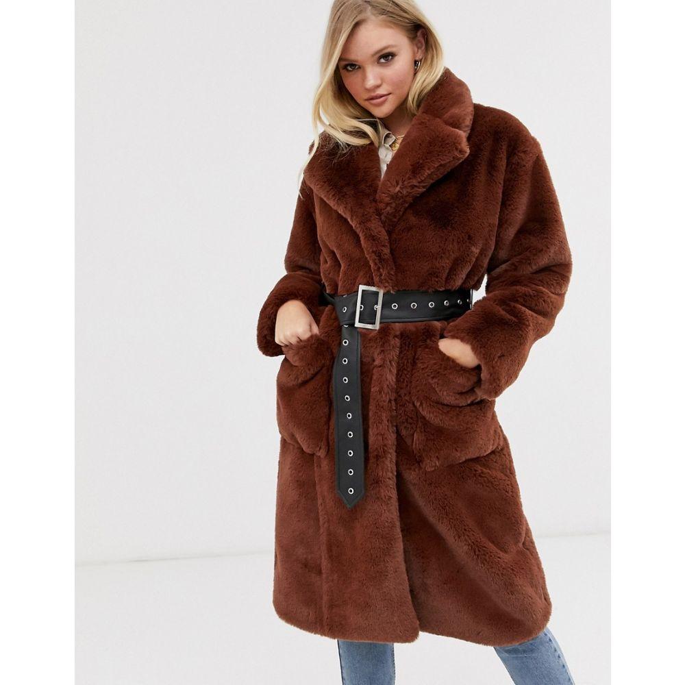 ネオンローズ Neon Rose レディース コート ファーコート アウター【oversized faux fur coat with belt】Chocolate
