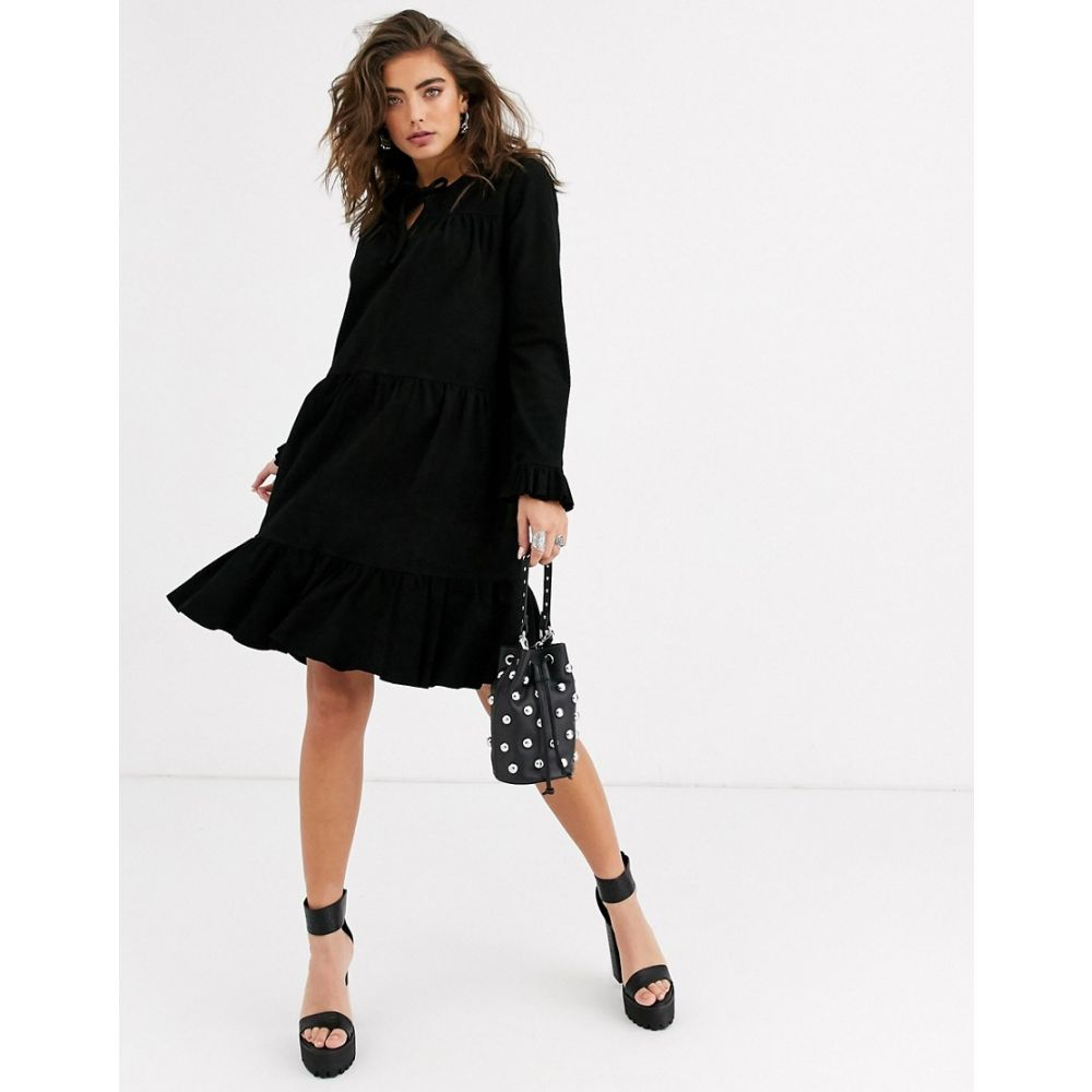 オブジェクト Object レディース ワンピース ミニ丈 ワンピース・ドレス【suede smock frill mini dress in black】Black