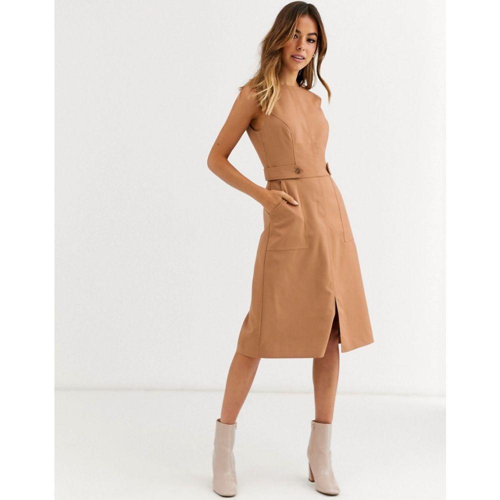 オアシス Oasis レディース ワンピース ミドル丈 ワンピース・ドレス【utility midi dress in tan】Mid neutral