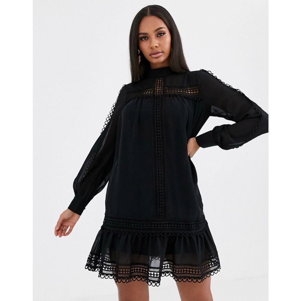 ミスガイデッド Missguided レディース ワンピース ワンピース・ドレス【high neck crochet trim dress in black】Black
