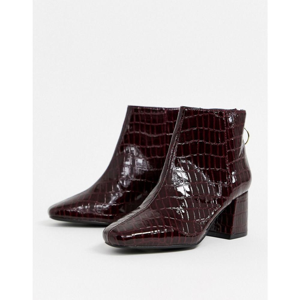 ミス セルフリッジ Miss Selfridge レディース ブーツ スクエアトゥ シューズ・靴【heeled boots with square toe in burgundy croc】Burgundy
