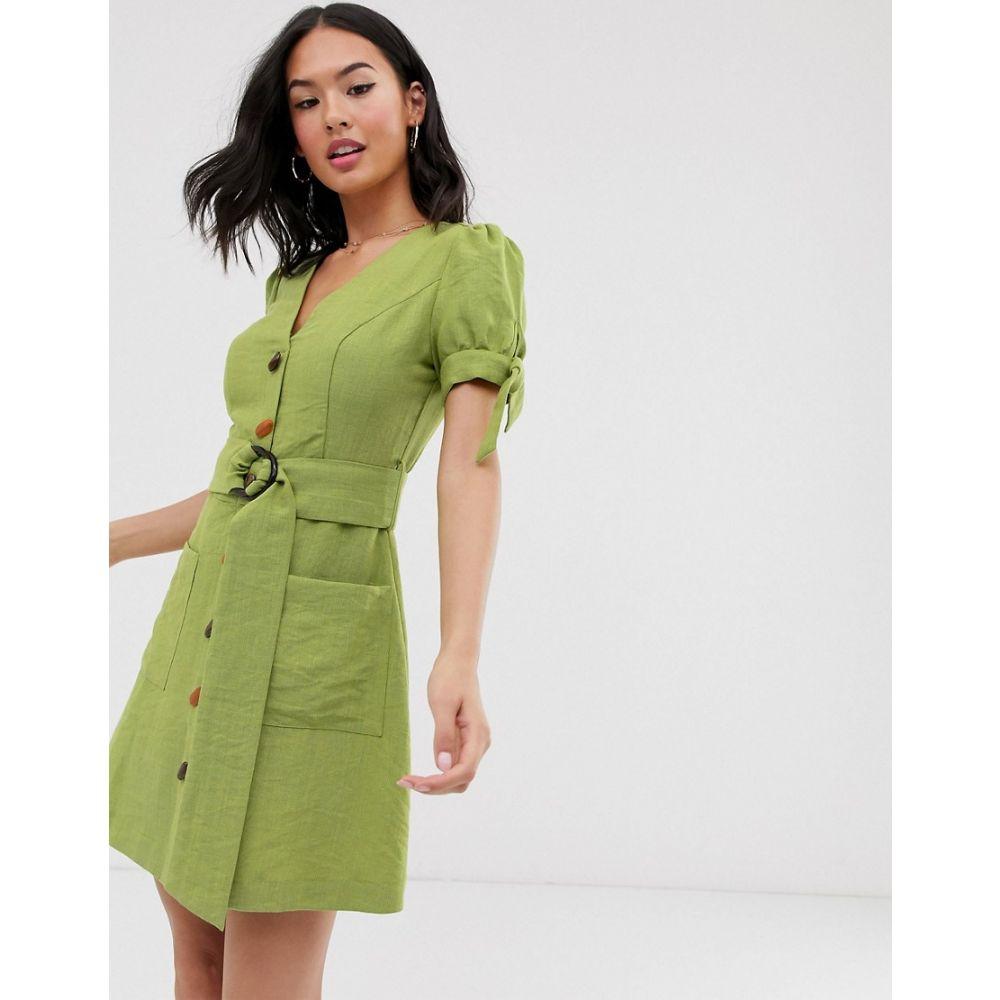 ムーンリバー Moon River レディース ワンピース ミニ丈 ワンピース・ドレス【belted buttondown mini dress】Kiwi