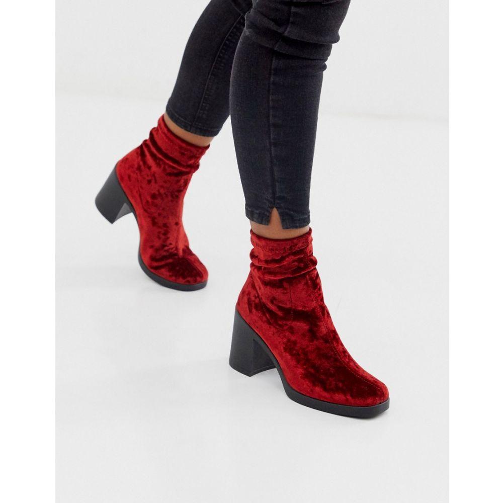エイソス ASOS DESIGN レディース ブーツ チャンキーヒール シューズ・靴【responsive chunky velvet sock boots】Red velvet