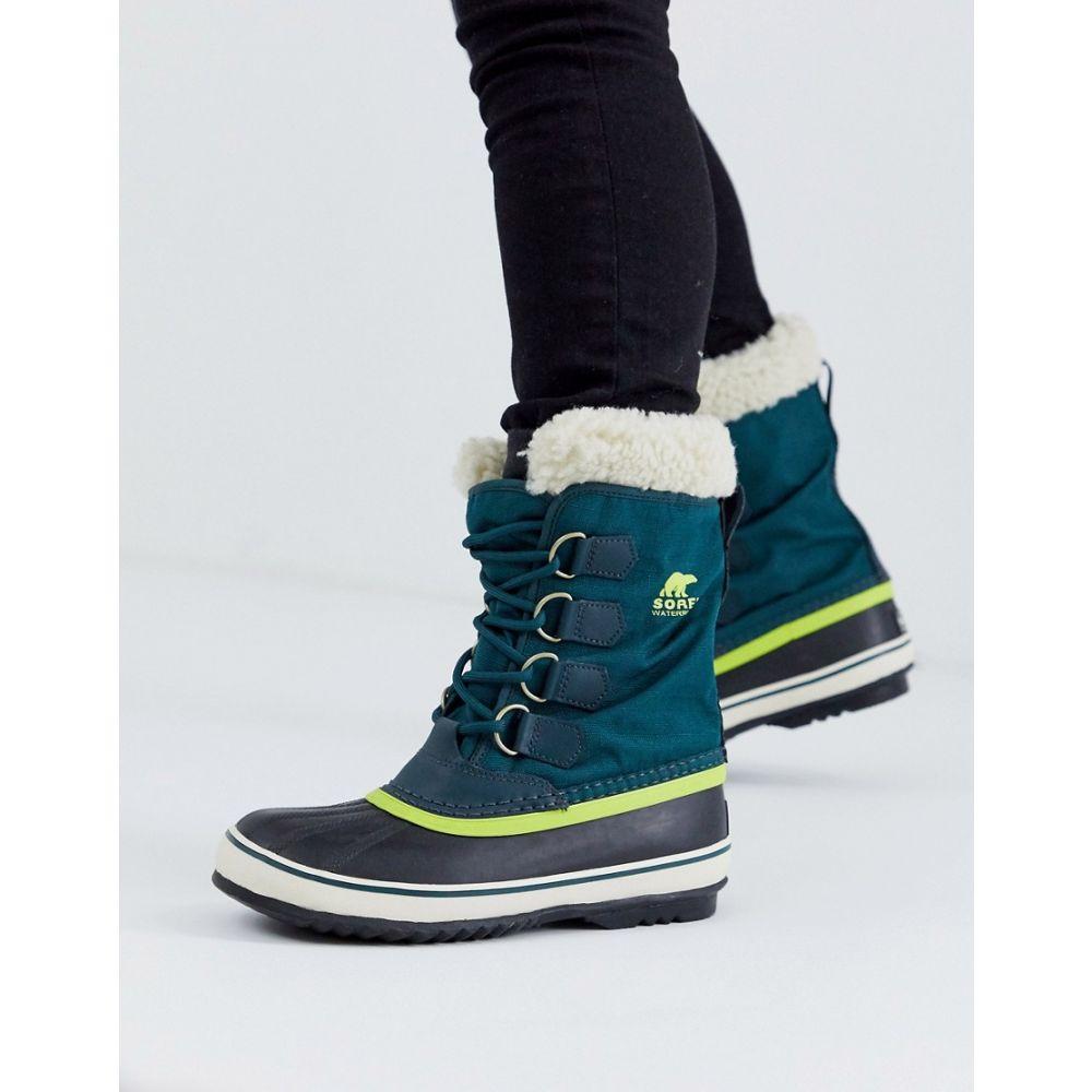 ソレル Sorel レディース ブーツ レースアップブーツ シューズ・靴【waterproof winter carnival lace up lined boot in blue】Dark sea