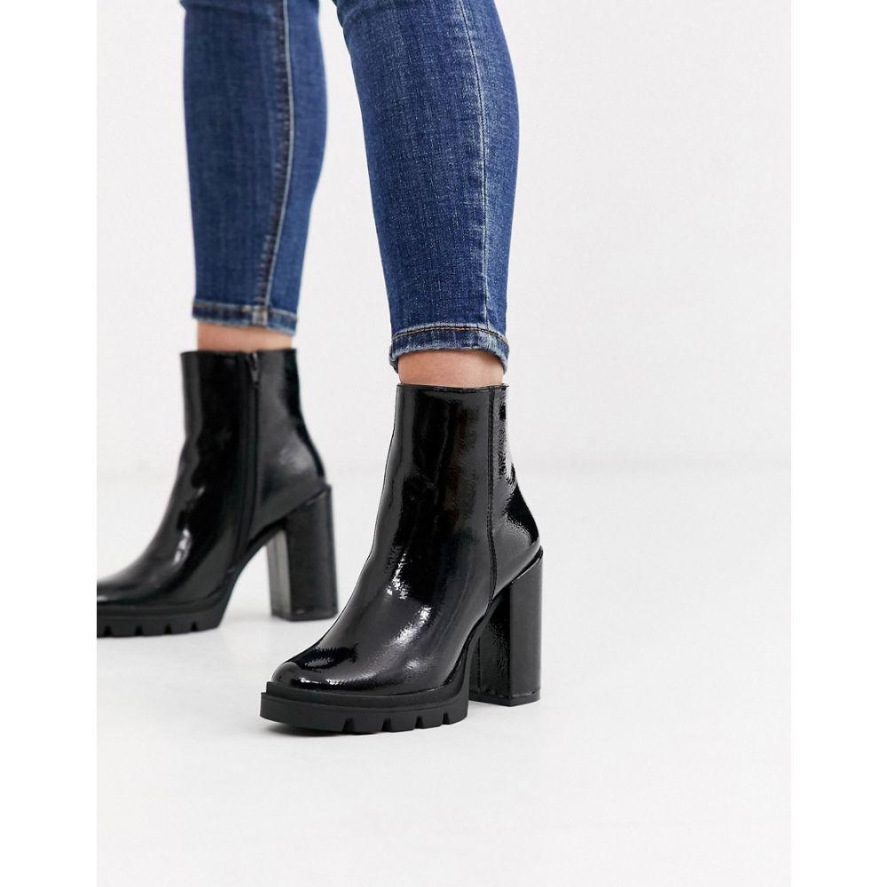 スティーブ マデン Steve Madden レディース ブーツ ショートブーツ チャンキーヒール シューズ・靴【vintage black patent chunky heeled ankle boots】Black patent
