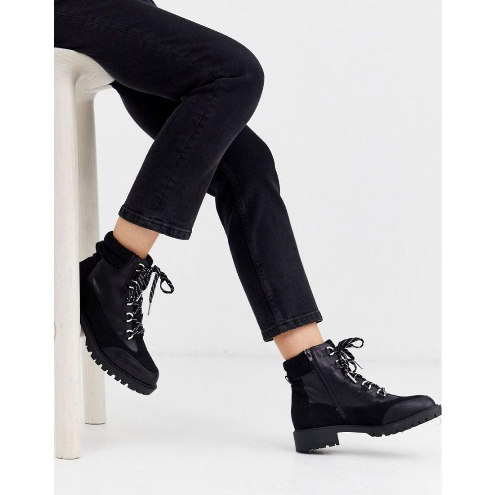 リバーアイランド River Island レディース ブーツ レースアップブーツ シューズ・靴【lace up flat hiker boot in black】Black