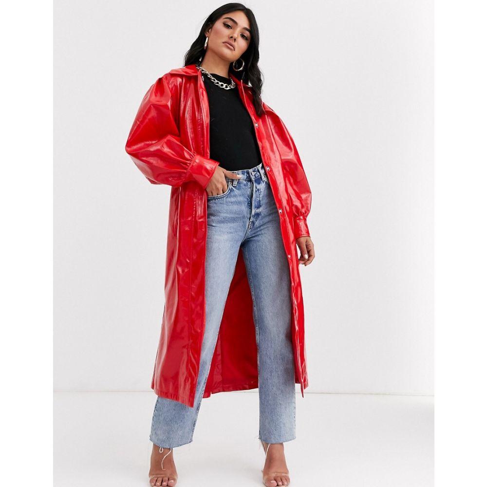 エイソス ASOS DESIGN レディース トレンチコート アウター【vinyl trench coat in red】Red