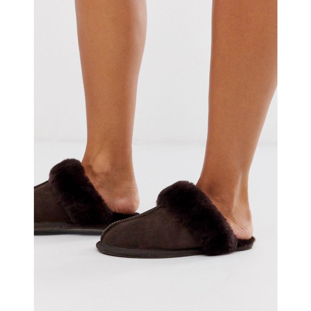エイソス ASOS DESIGN レディース スリッパ シューズ・靴【zella premium sheepskin slippers in chocolate brown】Chocolate