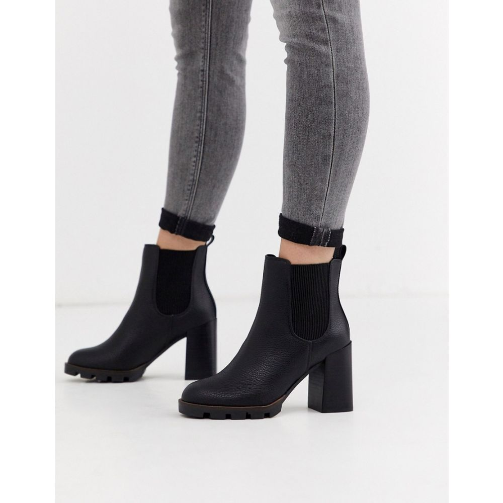 リバーアイランド River Island レディース ブーツ チェルシーブーツ チャンキーヒール シューズ・靴【chunky cleated heeled chelsea boots in black】Black