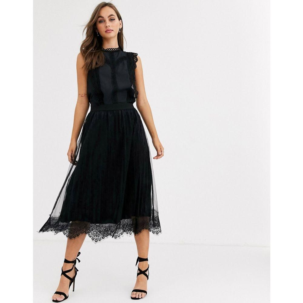 ピーシーズ Pieces レディース ひざ丈スカート スカート【mesh lace pleated midi skirt in black】Black