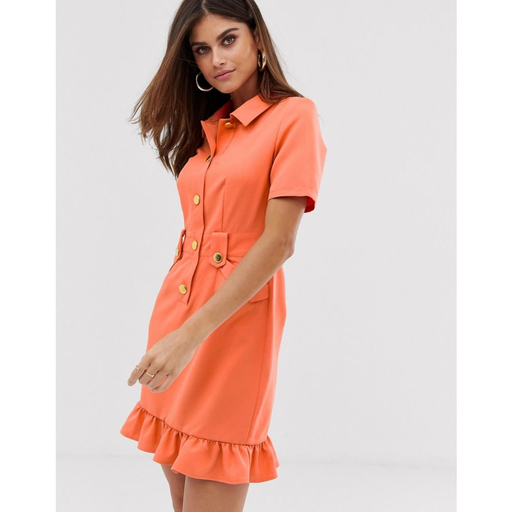 ユニーク21 UNIQUE21 レディース ワンピース ワンピース・ドレス【tailored belted ruffle hem dress】Coral